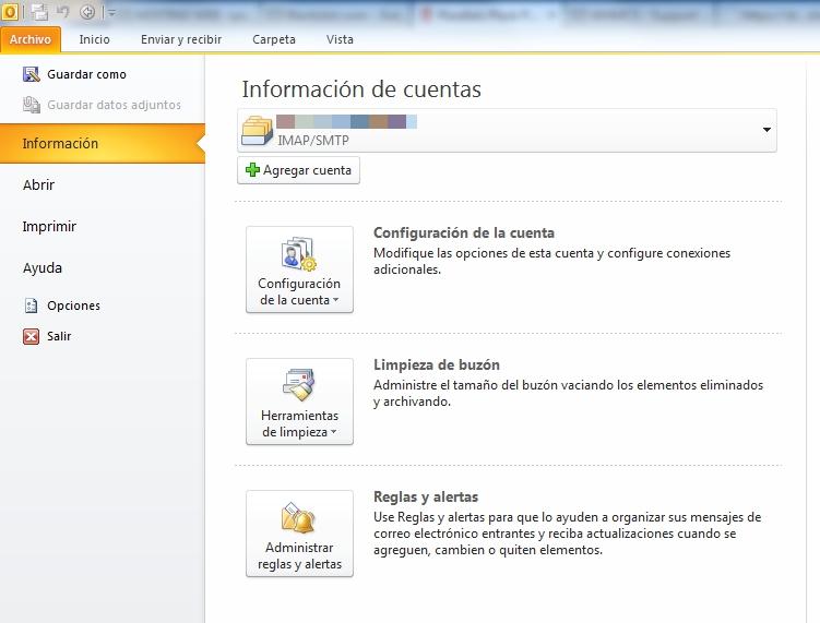 Correo en Outlook-informacion de cuentas