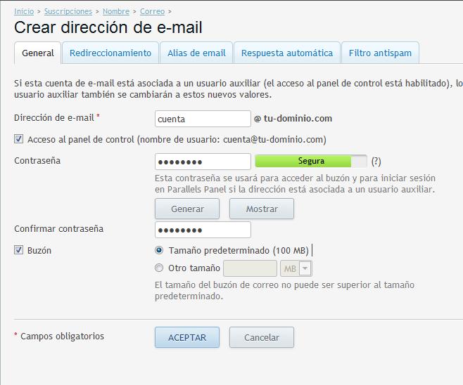 filtro antispam de Plesk-crear cuenta