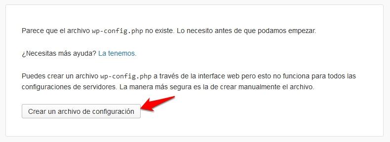 Asistente de instalación de WordPress