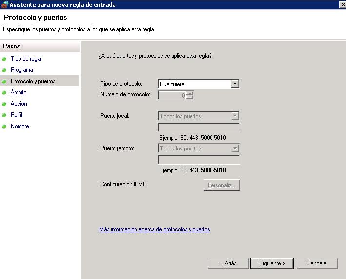 Bloquear IPs desde el firewall de Windows-fw protocolo