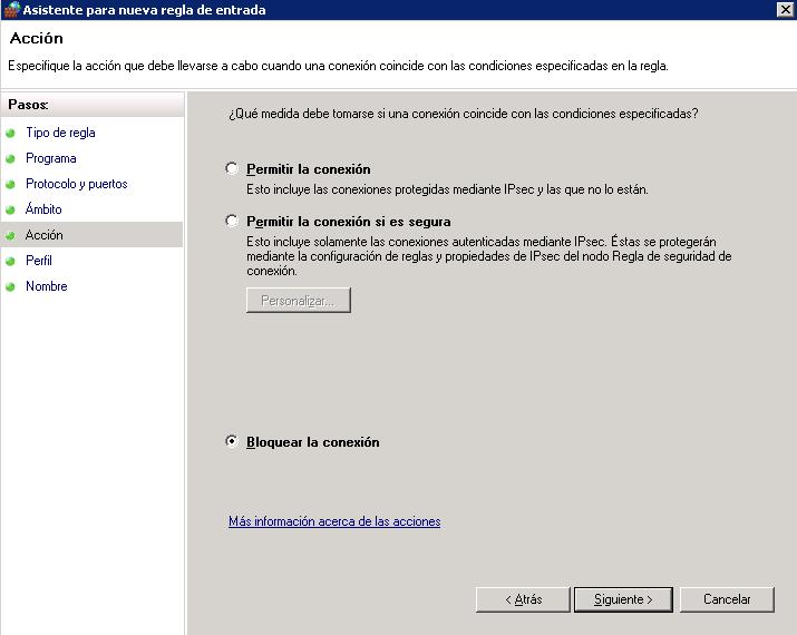 Bloquear IPs desde el firewall de Windows-fw bloquear la conexion