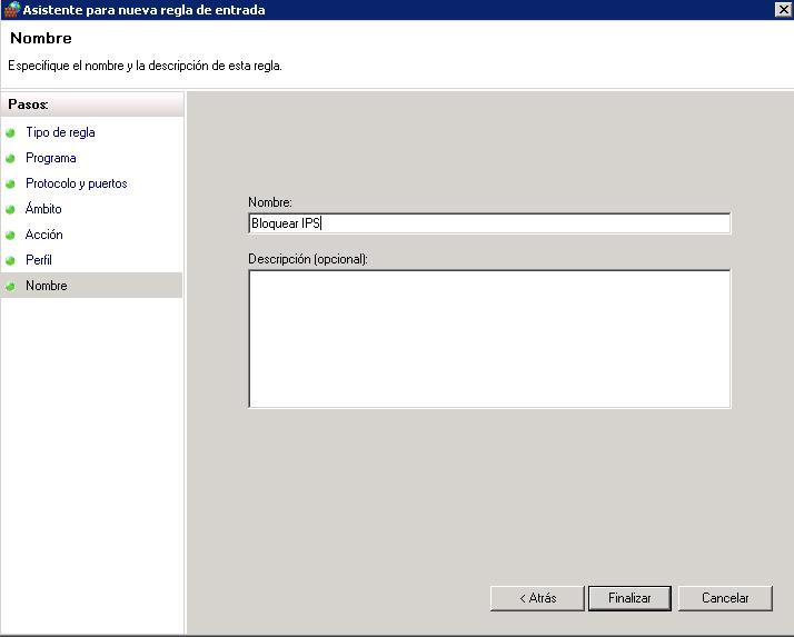 Bloquear IPs desde el firewall de Windows-nombre regla