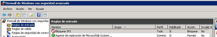 Bloquear IPs desde el firewall de Windows-2008