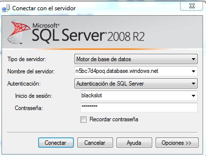 Conectar a SQL Azure