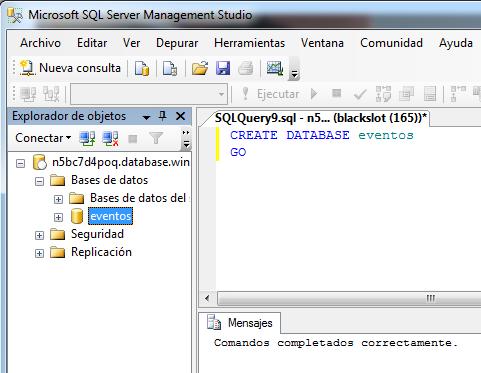 Crear base de datos-importar una base de datos a sql azure
