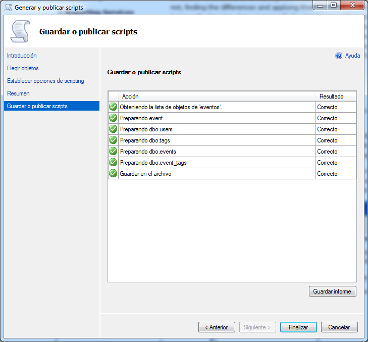 importar una base de datos a sql azure-guardar script