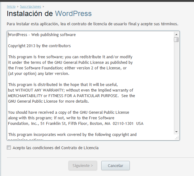 Condiciones de WordPress