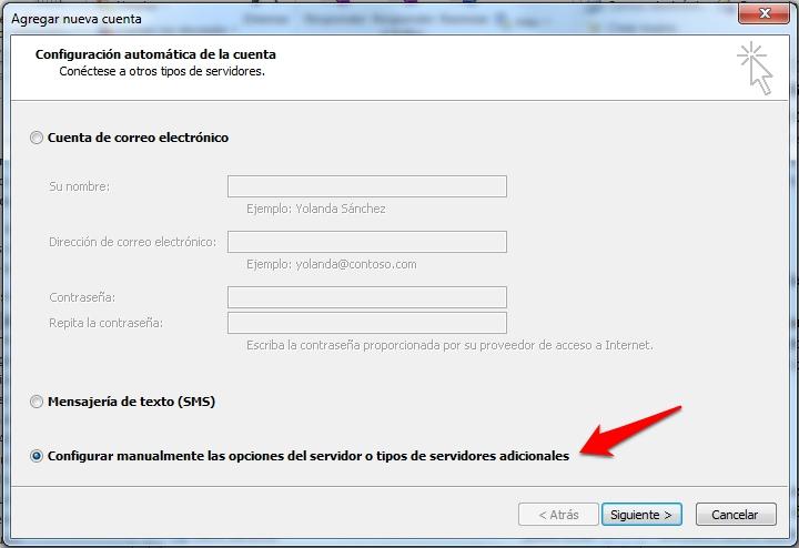 Configuración manual de la cuenta de correo en Outook