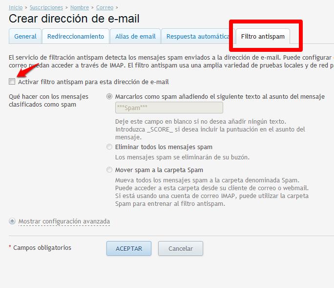 Filtro antispam para las cuentas de correo creadas en Plesk