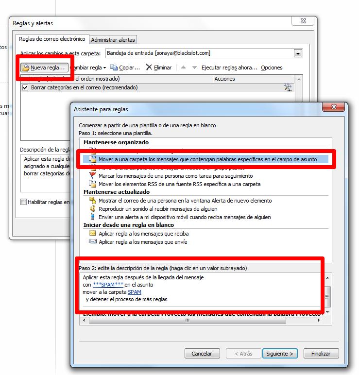 configurar filtro de correo en outlook 2