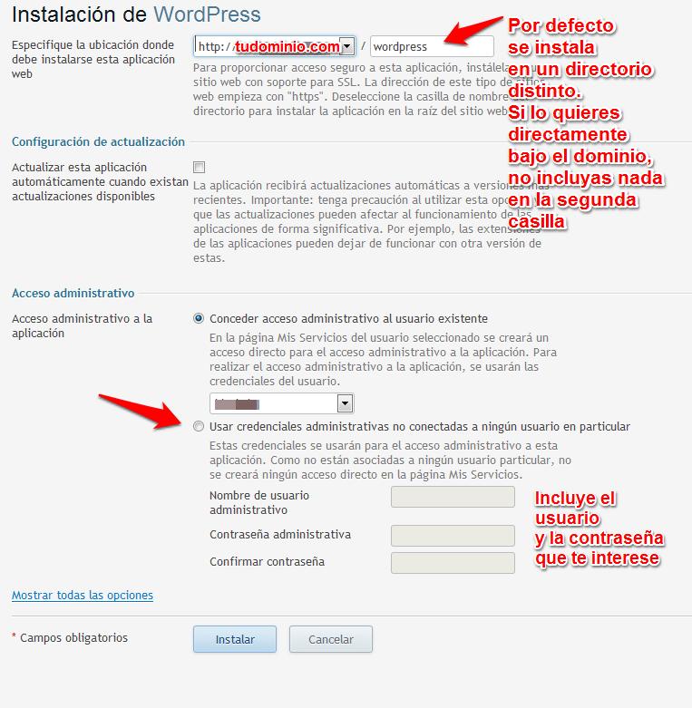 Opciones de instalación de WordPress que vienen por defecto en Plesk