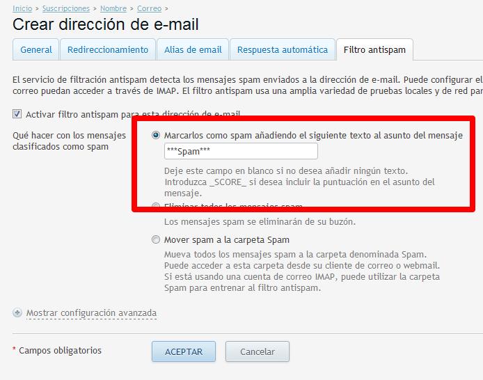Marcar el spam con un encabezado en los correos