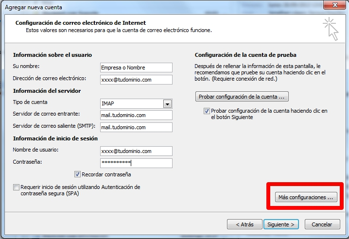 Datos a incluir para la configuración de la cuenta