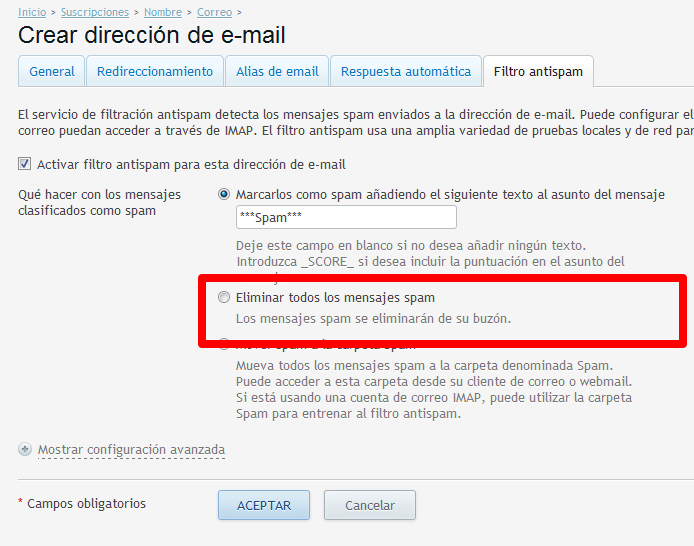 filtro antispam de Plesk-eliminar mensajes
