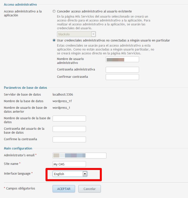 Seleccionar lenguaje castellano para la interfaz de WordPress