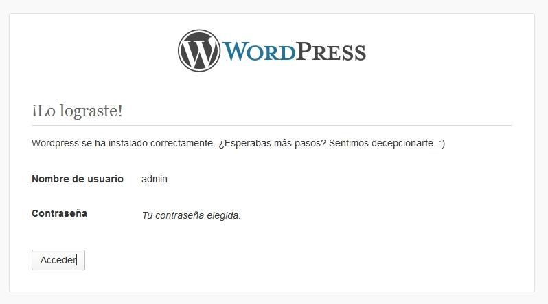 Instalación de WordPress completa