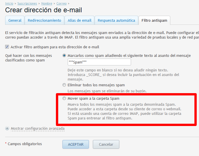 filtro antispam de Plesk-mover-linube
