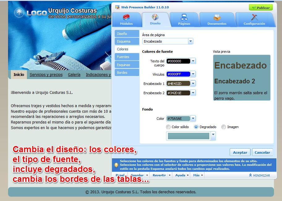 Cambia la gama de colores de la plantilla web