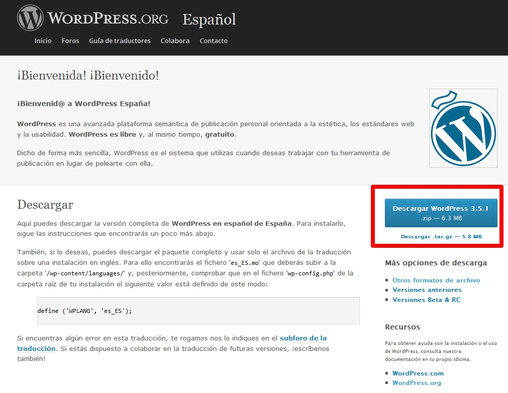 Descargar WordPress en castellano