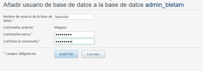 Nombre de usuario en la base de datos