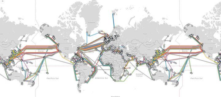 Los cables submarinos que conectan el internet del planeta