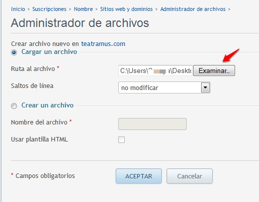 cargar archivo wordpress