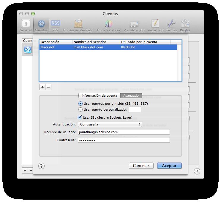 Configuración avanzada de cuenta de correo en Mail
