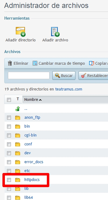 Directorio httpdocs en Plesk