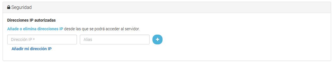 Añade tu IP para acceder por SSH