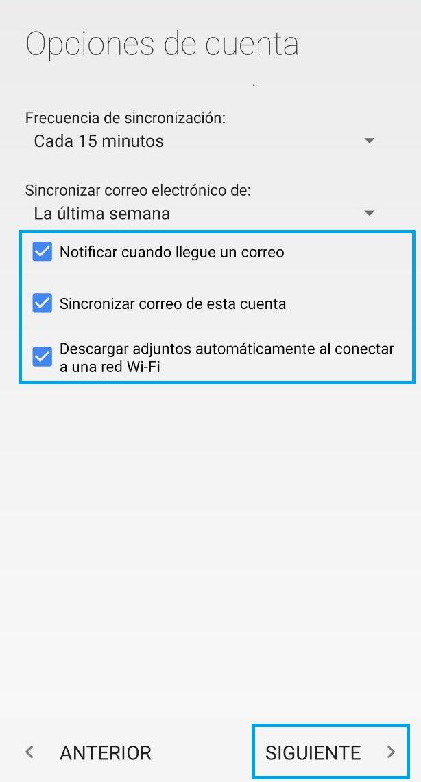 Configurar cuentas de correo en Android.