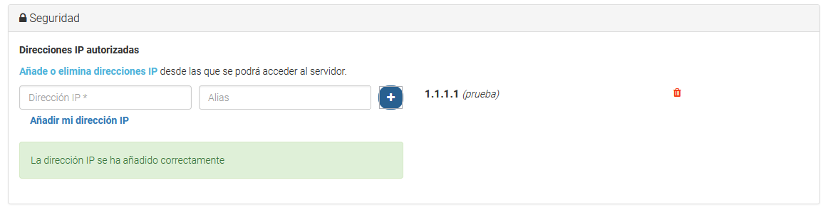 La IP se ha añadido correctamente.