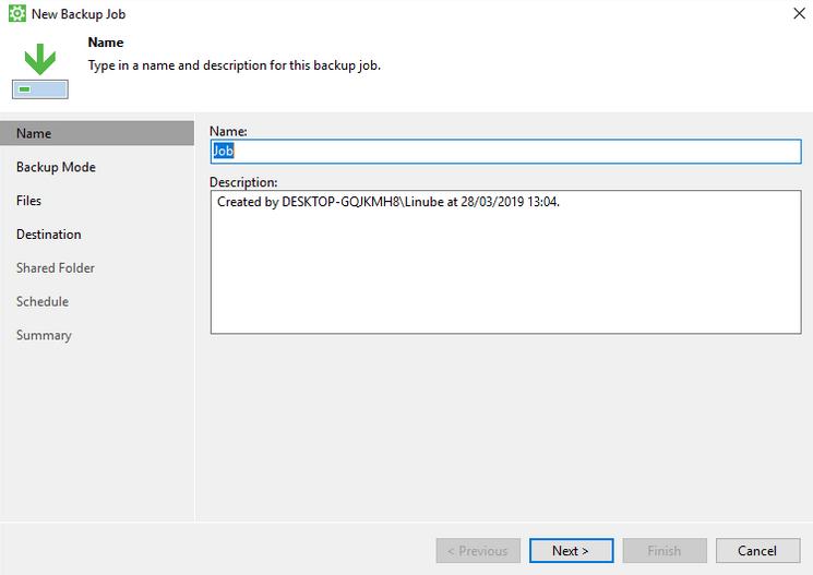 Especificar nombre y descripción del backup almacenado en Cloud Backup