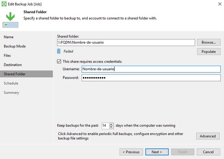 Especificar la configuración de la carpeta compartida en la que se almacenarán las copias de seguridad de Cloud Backup.