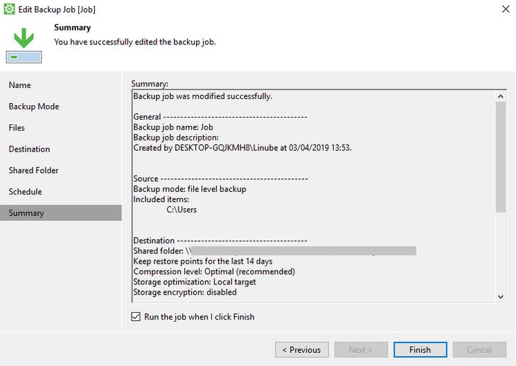 Finalizar la configuración de las copias de seguridad