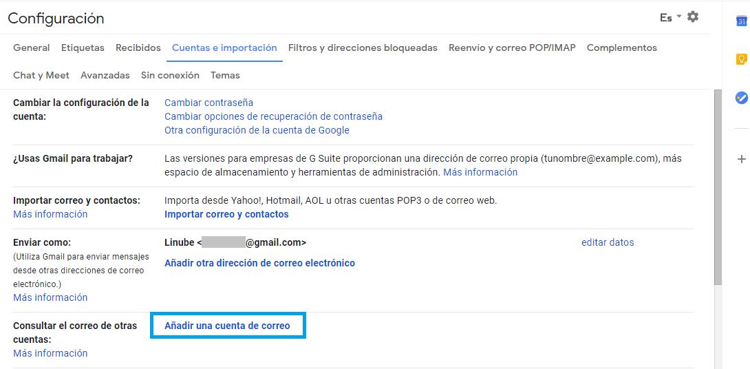 Configura Gmail como cliente de correo
