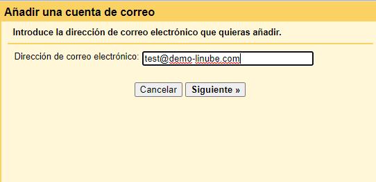 Añade la dirección de correo que quieres configurar en Gmail como cliente de correo.
