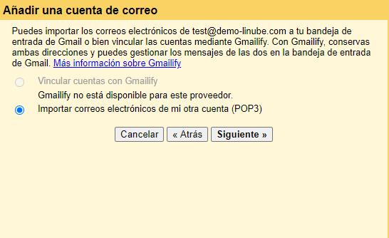 Configuración de cuentas de correo en Gmail como cliente