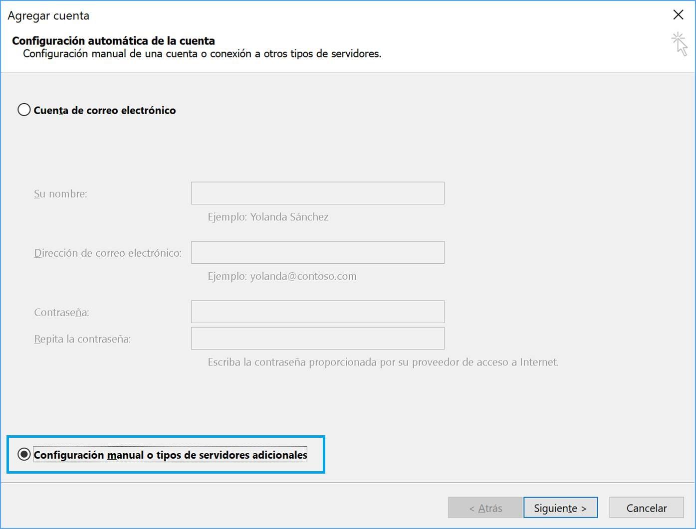 Configuración manual de la cuenta Outlook 2016