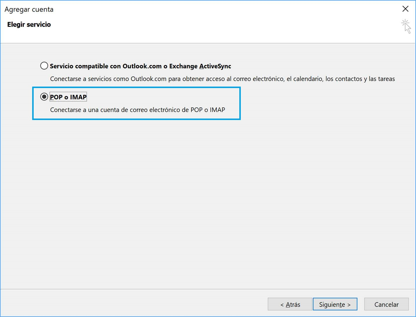 Configuración POP o IMAP Outlook 2016