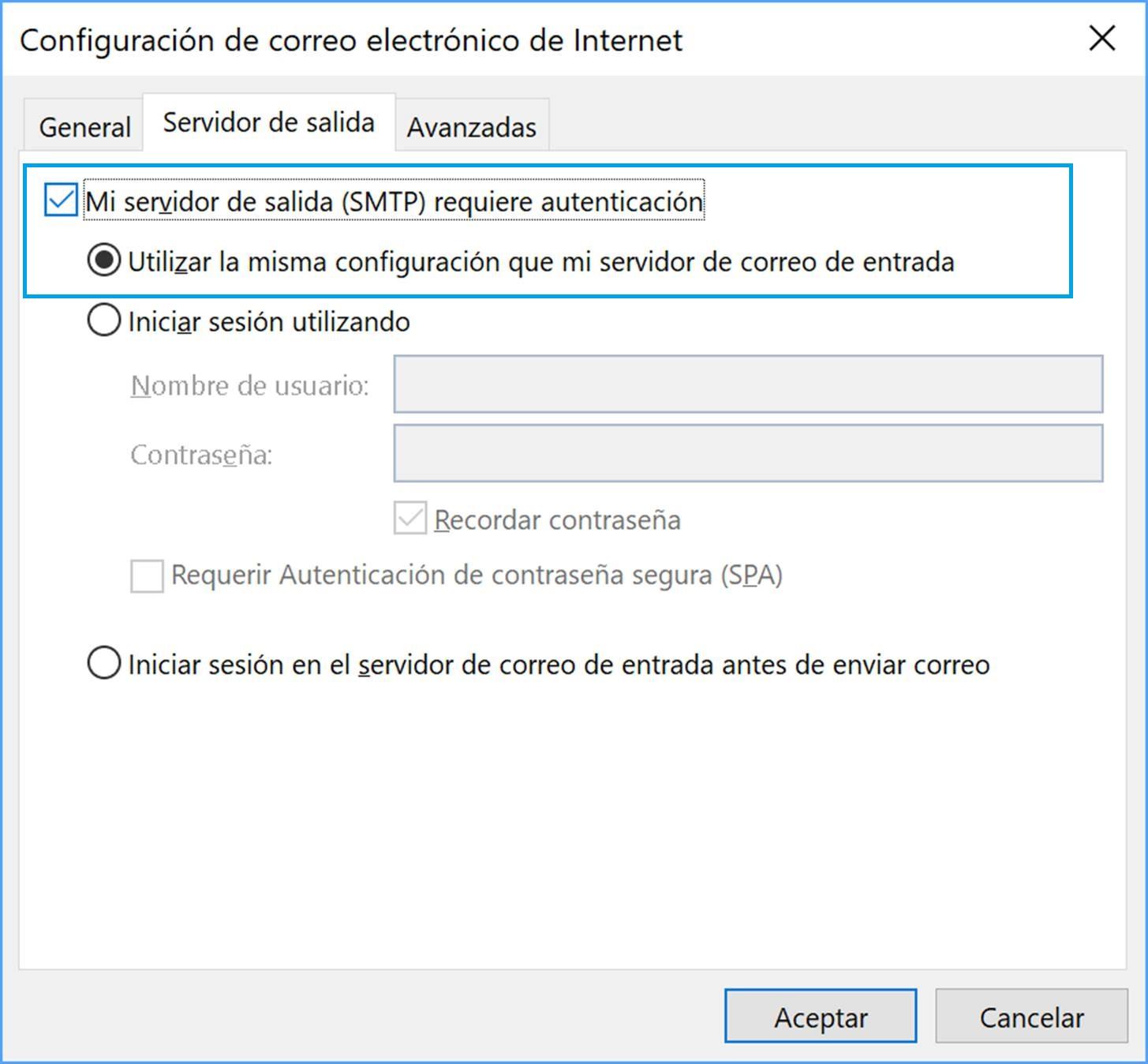 Configuración avanzada servidor en Outlook 2016