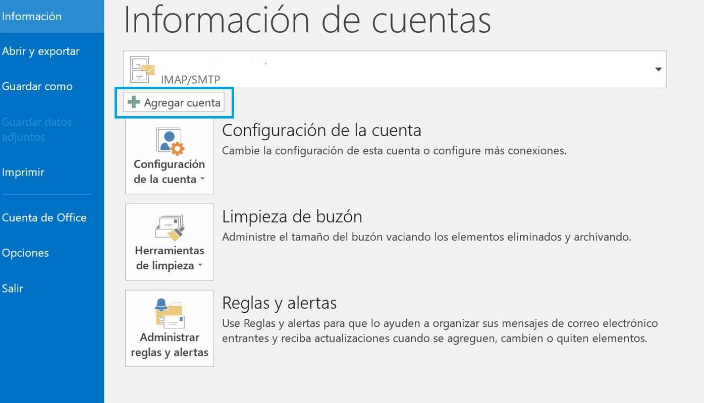 Agregar cuenta de correo en Outlook 2016