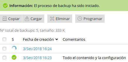 Crear un backup manual en Plesk