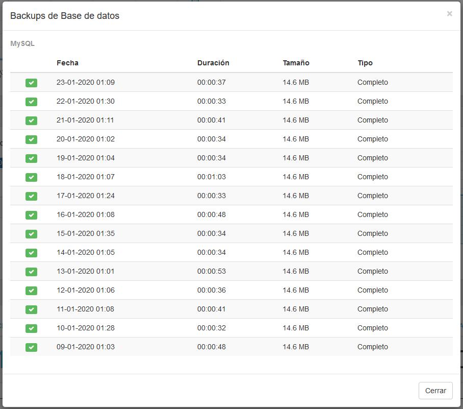 Consultar detalles del backup desde el área de cliente