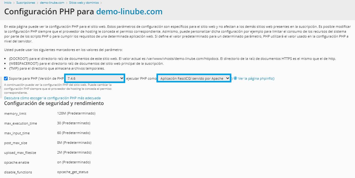 Modo de ejecución de PHP: FastCGI