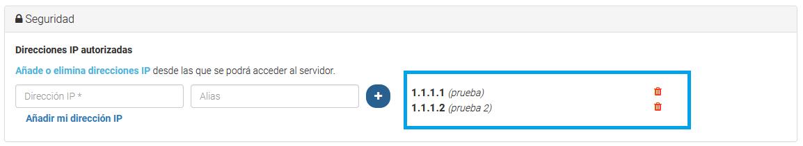 Listado de IPs con acceso al servidor.