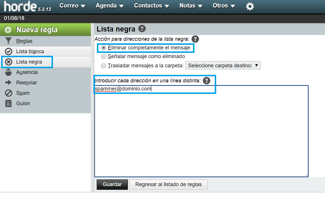 Cómo añadir direcciones a lista negra desde webmail