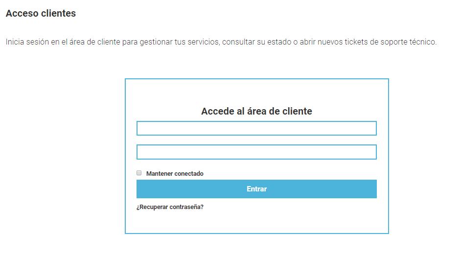 Acceso al área de cliente