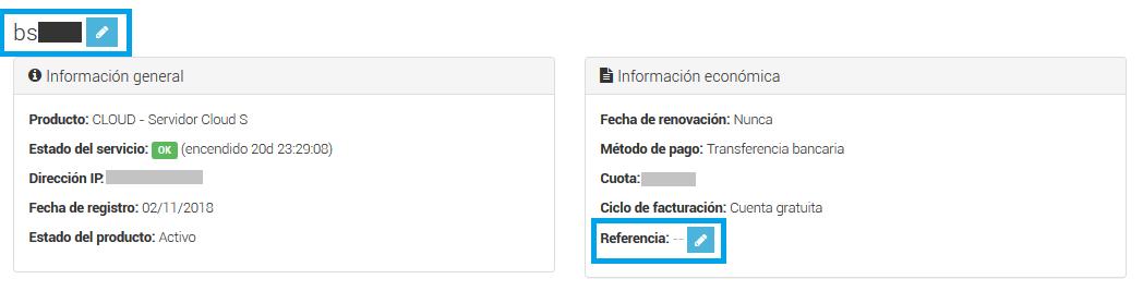 Cómo cambiar el nombre o añadir una referencia en un servidor cloud