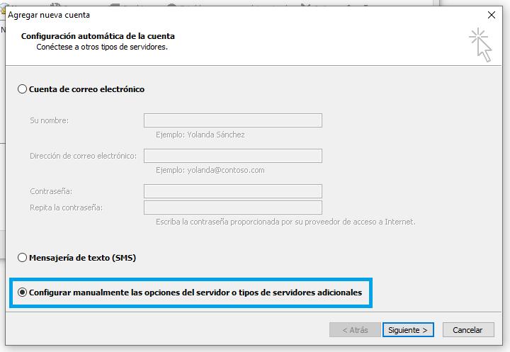 Configuración manual de la cuenta Outlook