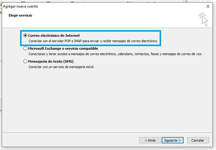 Configuración POP o IMAP Outlook 2010